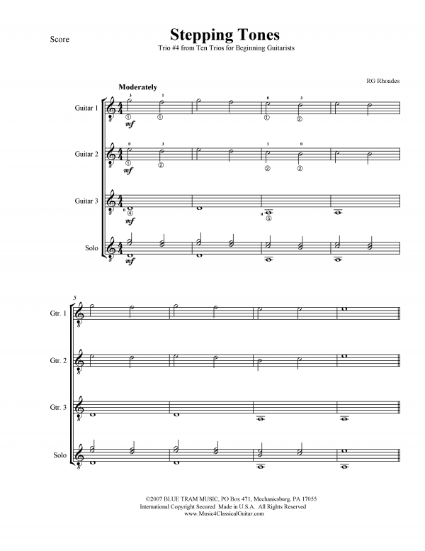 View first page preview of Ten Trios for Beginning Guitarists - No. 4 -
