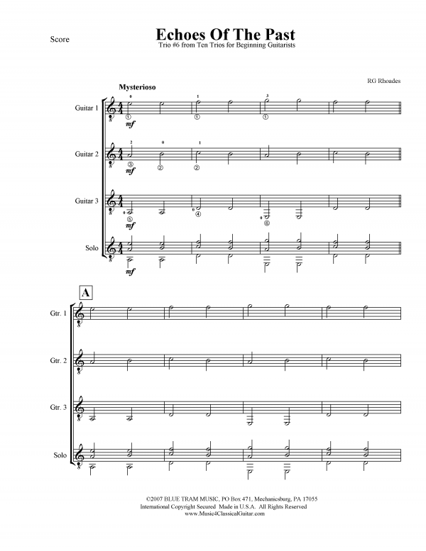 View first page preview of Ten Trios for Beginning Guitarists - No. 6 -