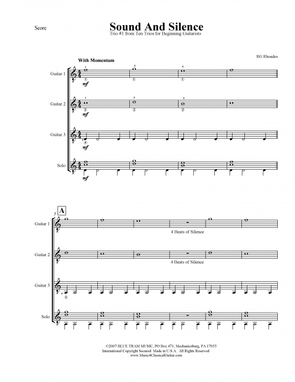 View first page preview of Ten Trios for Beginning Guitarists.