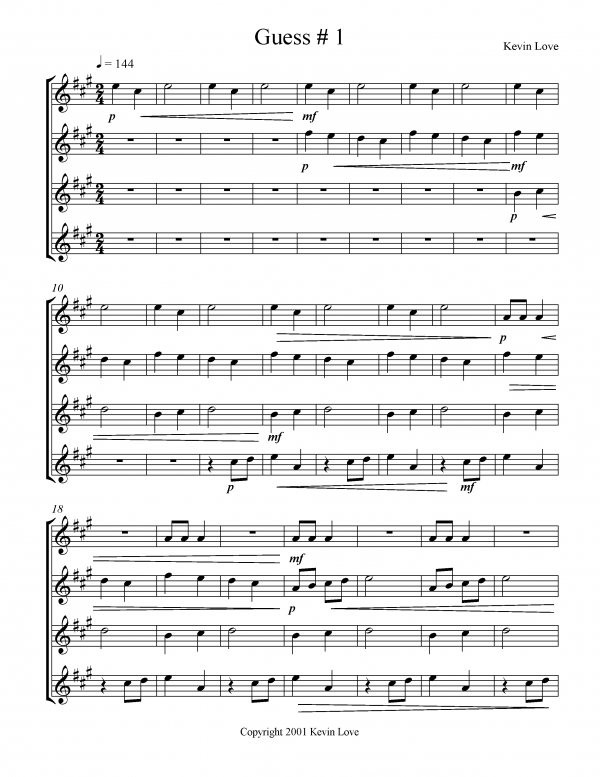 View first page preview of Guess 1 (Guitar Quartet).