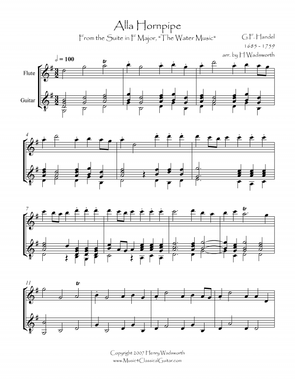 View first page preview of Alla Hornpipe (Flute and Guitar).