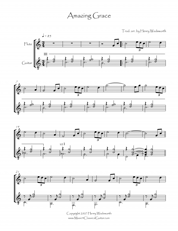 View first page preview of Amazing Grace (Flute and Guitar).