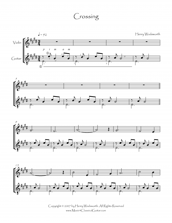 View first page preview of Crossing (Violin and Guitar).