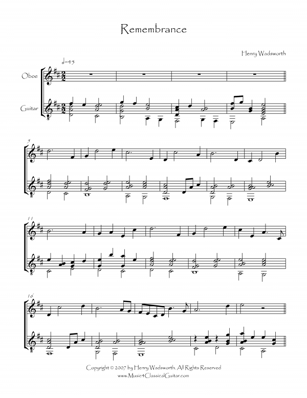 View first page preview of Remembrance (Oboe and Guitar).