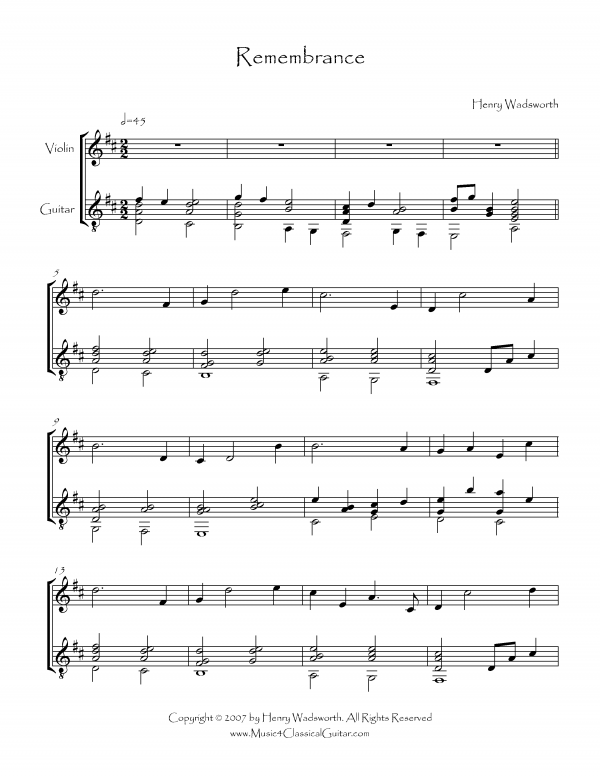 View first page preview of Remembrance (Violin and Guitar).