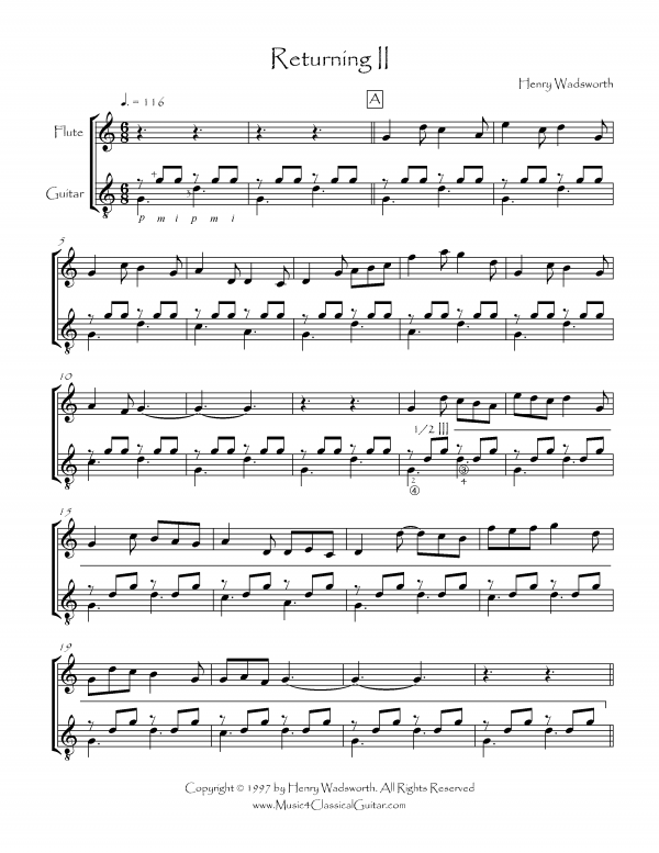 View first page preview of Returning II (Flute and Guitar).