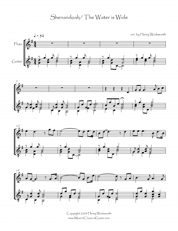 View first page preview of Shenandoah/The Water is Wide (Flute and Guitar).