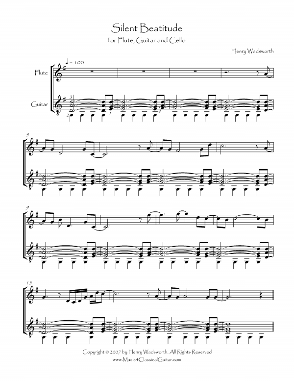 View first page preview of Silent Beatitude (Flute, Cello and Guitar).