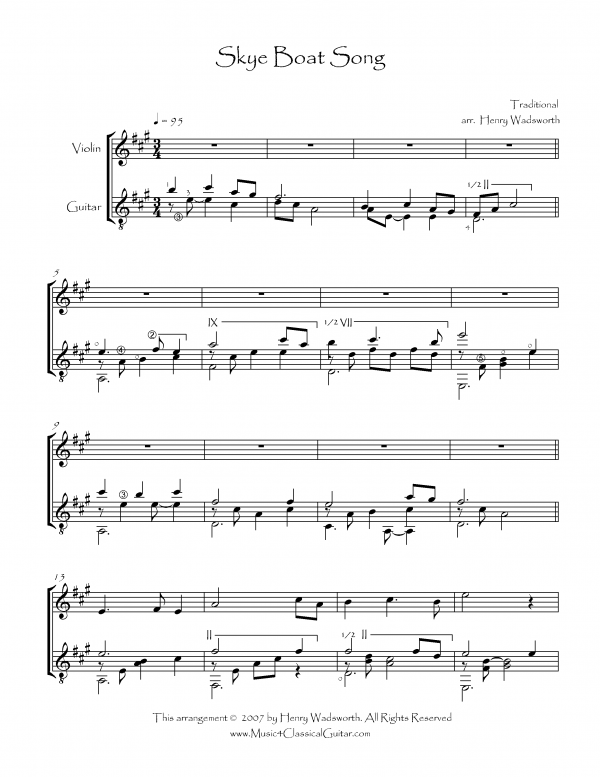 View first page preview of Skye Boat Song (Violin and Guitar).