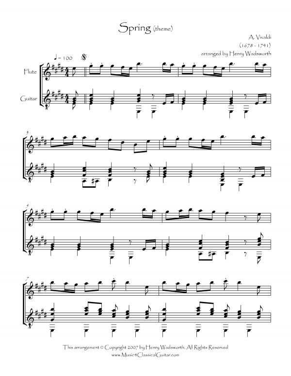 View first page preview of Spring from the Four Seasons (Flute and Guitar).