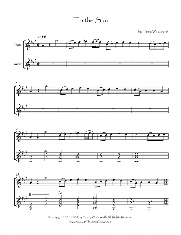 View first page preview of To The Sun (Flute and Guitar).