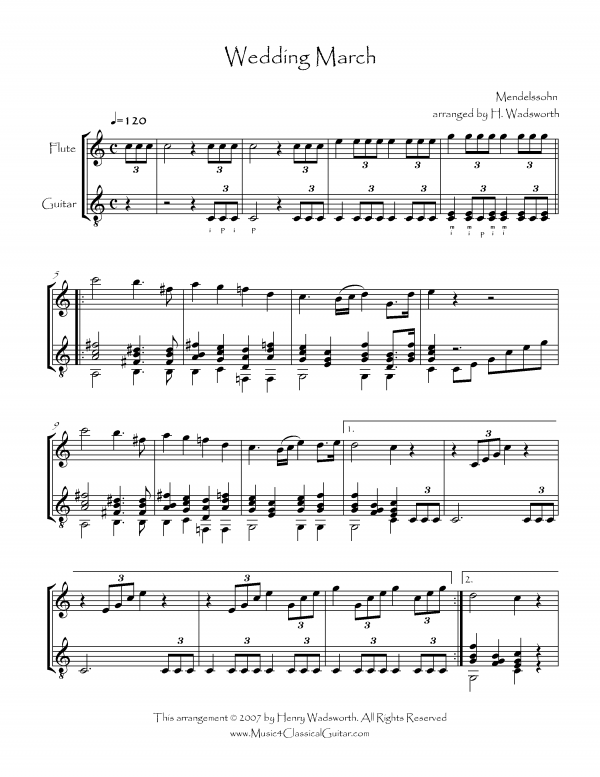 View first page preview of Wedding March (Flute and Guitar).
