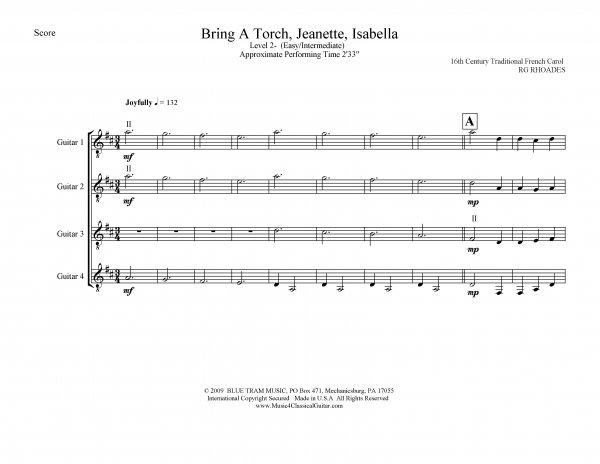 View first page preview of Bring a Torch, Jeanette, Isabella (Guitar Quartet).