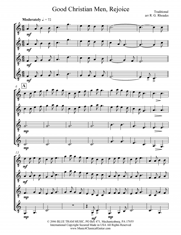 View first page preview of Good Christian Men, Rejoice (Guitar Quartet).