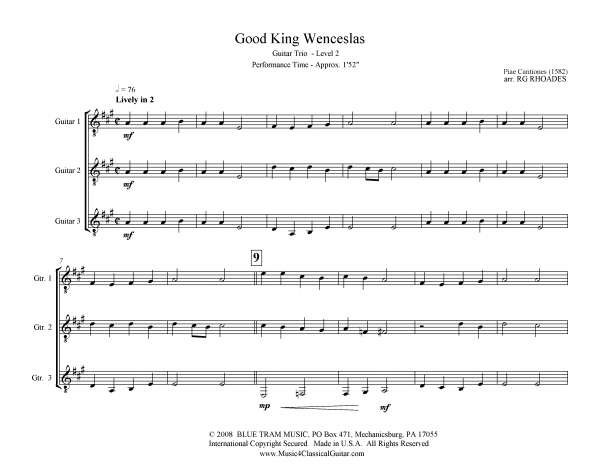 View first page preview of Good King Wenceslas (Guitar Trio).