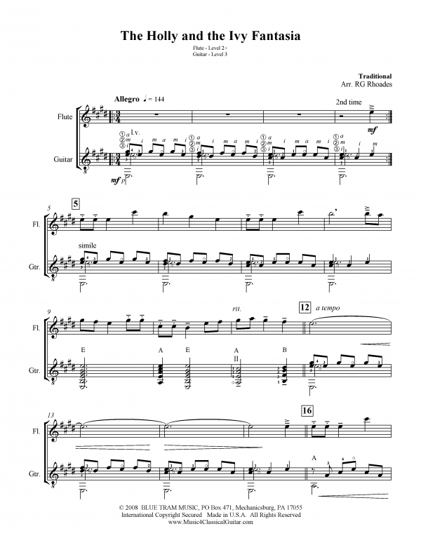 View first page preview of The Holly and the Ivy Fantasia (Flute and Guitar).