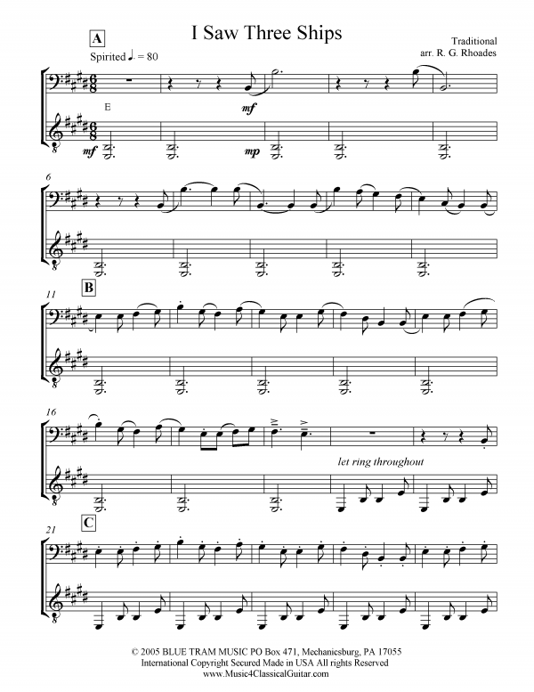 View first page preview of I Saw Three Ships (Cello and Guitar).