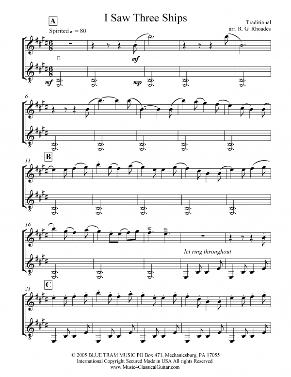 View first page preview of I Saw Three Ships (Violin and Guitar).