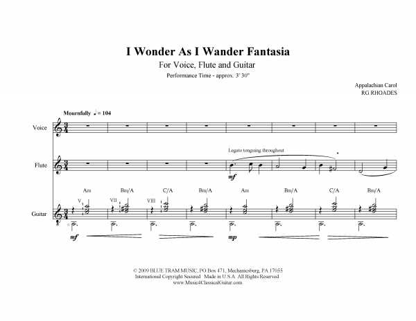 View first page preview of I Wonder as I Wander (Voice, Flute and Guitar).