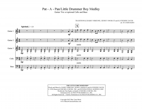 View first page preview of Pat-a-Pan, Little Drummer Boy Medley (Guitar Trio).