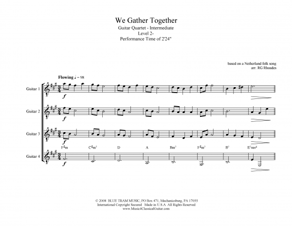 View first page preview of We Gather Together (Guitar Quartet).