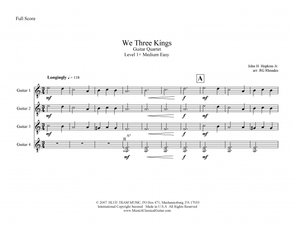View first page preview of We Three Kings (Guitar Quartet).